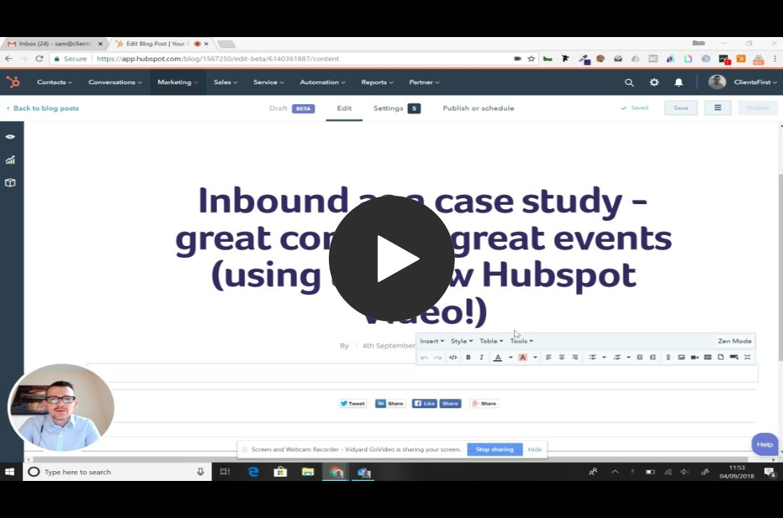 Inbound as a case study - great comms = great events (using the new Hubspot Video!)